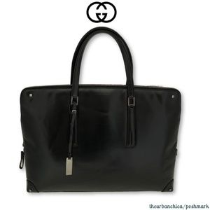 GUCCI Black Leather Top Handle Large Tote Purse